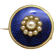 Antique Georgian 14K Yellow Gold Blue Enamel and Pearl Brooch Pin