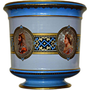 SALE Porcelain CachePot ~ Hand Painted and Gilded Bohemian Jardiniere by Fischer & Mieg c