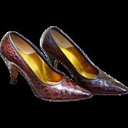 Genuine Alligator Heels ''Palizzio Very New York'' VTG, Women's Pump Heels Crocodile/Alligator