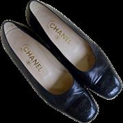 SALE Authentic Chanel Black Leather Patent Toe Cap Pumps 1990 Vintage, Classic Stitched CC Log