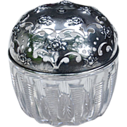SALE Antique String Holder Sterling Silver and Cut Glass Gorham Dresser Jar, Pierced Lid