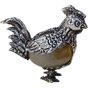 SALE Sterling Silver Chicken Figurine with Agate Stone Body, Taxco