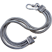 Sterling Silver Wheat Chain Bracelet with Three Strands