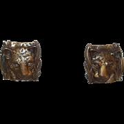 Vintage Jonette Bronze Colored Pierced Leopard  Earrings