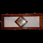SALE Antique Larkin Solid Oak Hat/Coat Rack with Beveled Mirror
