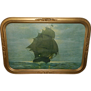 "Early 20th Century Gold Painted Wood and Plaster Framed Print ""Midnight at Sea"""