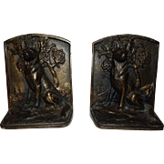 "SOLD Hubley ""Mountain Shepherd"" Cast Iron Bookends"