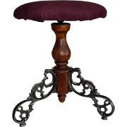 Victorian Piano Stool with Three Ornate Cast Iron Scrollwork Legs