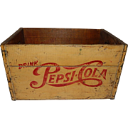 SOLD Vintage Wooden Yellow Advertising Pepsi-Cola Crate