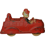 Vintage 1930's Sun Rubber Company Mickey Mouse Fire Truck