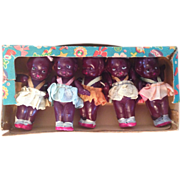 5  Black Miniature  Celluloid Kewpie style Carnival  dolls Made in Japan