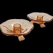 Fostoria Fairfax Amber Glass Candle Holders
