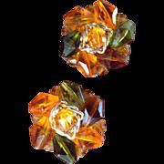 Vintage German Beaded Clip On Earrings In Fall Colors