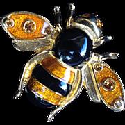 SOLD Vintage Gold Tone, Enamel, and Rhinestone Bumblebee Pin