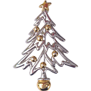 SOLD Vintage Modern Silver and Gold Tone Christmas Tree Pin