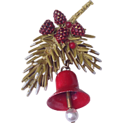 SOLD Vintage Pine Branch With Red Bell Christmas Pin Signed ART