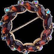 Large Eyecatching Vintage Circle Brooch With Chocolate and Aurora Borealis Rhinestones