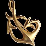 Huge Vintage Gold Tone Dancing Anchor Brooch Signed J. M. Enterprises