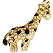 Vintage Giraffe Pin With Rhinestones And Black Enamel On Gold Tone--Late 80's to Early 90's