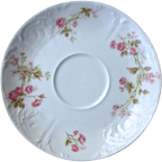 Set of Five Haviland Limoges Saucers With Pink Flowers and Green Leaves