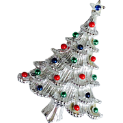 Signed Vintage Gerry's Silver Tone Christmas Tree