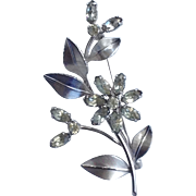 Vintage Signed Krementz Rhinestone And Silver Tone Flower Brooch