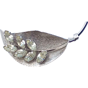 Darling Vintage Signed Star Art Sterling Lily Of the Valley Pin With Rhinestones