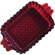 Ruby Pressed Glass Small Dish With Handles