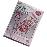 Folk Art Santas Christmas Stocking Counted Cross Stitch Kit With Free Ornament