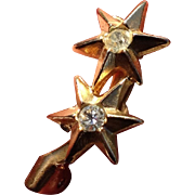 Petite Vintage Gold Tone Two-Star Pin With Rhinestones