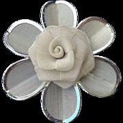 Silver Tone Mesh Rose Pin