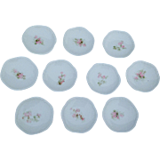 Set Of 10 Antique Limoges, France, Butter Pats With Pink Flowers By Lanternier