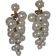 Large Vintage '60's Simulated Pearl Drop Cluster Clip Earrings