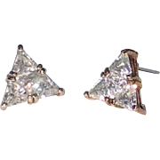 Large Vintage Cubic Zirconia Triangle Post Earrings Set In Vermeil