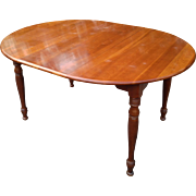 Baumritter Ethan Allen Round Solid Cherry Dining Table With One Leaf