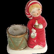 Enesco Handpainted Christmas Bedtime Boy / Girl Candle Holder 1978