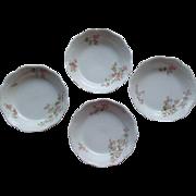 Antique Limoges France Dessert / Berry Bowls By Lanternier Set of 4