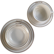 Four-Piece Group of Vintage Delta Airlines China With Double Gold Band