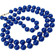 1960's Signed Monet Classic Cobalt Blue and Gold Tone Bead Necklace