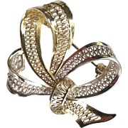 Signed Willi Nonnenmann Sterling and Gold Vermeil Filigree Modernist Bow Brooch