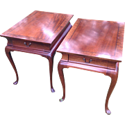 Pair of Vintage Hickory Chair Queen Anne Solid Mahogany Side / End Tables With Inlay and Burl