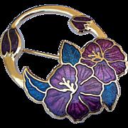 Vintage Guilloché Purple Hibiscus Oval Cloisonné Pin