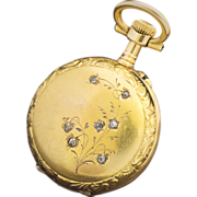 SOLD Antique French Solid 18k Gold and Diamonds Pocket/Pendant Lady Watch