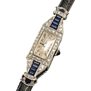 SALE PENDING Antique Solid 18k White Gold, Sapphires and Diamonds Lady Wrist Watch - French an