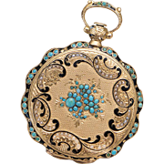 SOLD Beautiful Antique 1830s Swiss Solid 18k GOLD PEARLS and TURQUOISE Pocket or Pendant Lady