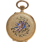 SOLD Beautiful Antique Swiss 18k Gold & Enamel Lady pocket or pendant watch with Putty
