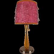 Amazing Vintage 1960/1970's Retro Orange Lucite Stem Lamp with original Sparkle Shade.
