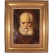 Stunning Antique 18th century original Oil painting of Old Scottish Lord by  Fr. Schasing