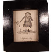 Antique Benjamin Lay Etching in Ebonized Frame