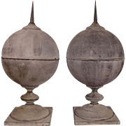 Pair of Huge Rare Vintage Metal Pointed Finials with gorgeous Verde Gris Patina